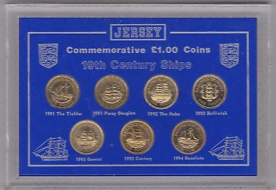 Cased Jersey 19Th Century Ships £1 Coin Set 7 Coins 1991 To 1994