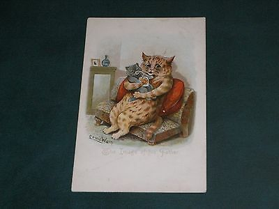 Original Louis Wain Signed Tuck Cat Postcard - The Image Of His Father - 5802.