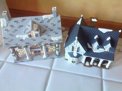 GOTHIC FARMHOUSE #54046 & CUMBERLAND HOUSE  Dept 56 Snow Village Lot Of 2 Houses