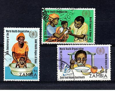 Zambia (808) 1973 25th Anniversary of W.H.O. large part used set Sg199,201,202