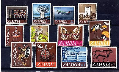 Zambia (814)  1968 Decimal Currency set Lightly mounted mint Sg129-140