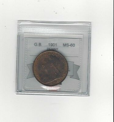 **1901**Great Britain, One Penny, Coin Mart Graded **MS-60**