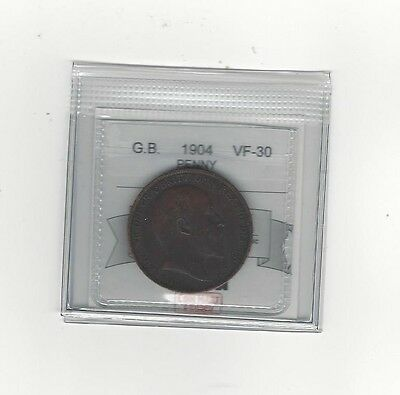 **1904**Great Britain, One Penny, Coin Mart Graded **VF-30**