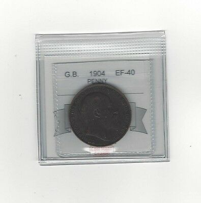 **1904**Great Britain, One Penny, Coin Mart Graded **EF-40**