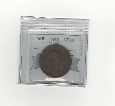 **1910**Great Britain, One Penny, Coin Mart Graded **VF-20**