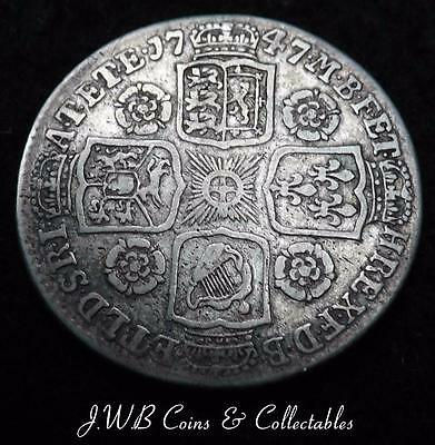 1747 King George II Silver Shilling Coin . - Ref;H/D