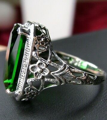 6ct *Green Emerald*Solid Sterling Silver Art Nouveau Floral Filigree Ring Size 9