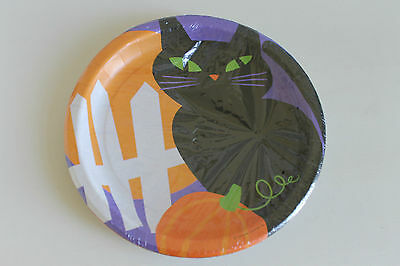 Black Cat Halloween Paper Plates Hallmark New 8.75 In Pack Of 8  (3 Available)