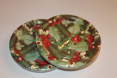 2 Packs Of Party House Christmas Holly 7In Paper Plates 16 Plates/pack New