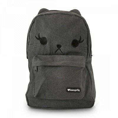 New LOUNGEFLY School Bag BLACK CAT Backpack Washed Denim 3D Ears Grey Laptop Pad