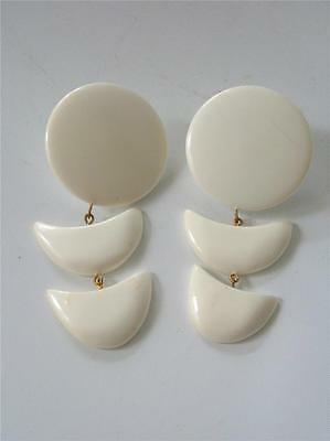 Vintage HUGE White Lucite Long Dangle Earrings Round Crescent Moon 1980s Mod