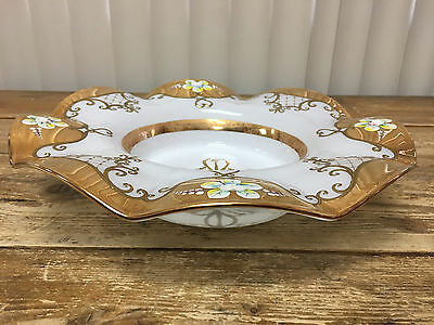 Brides Basket Insert Cased Glass Antique Gold Leaf Clear Floral White Ruffled ??