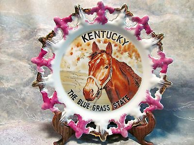 Vintage Kentucky Blue Grass State Thoroughbred Horse Plate, Made In Japan