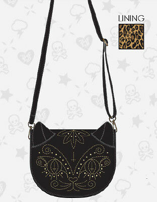 $ New LOUNGEFLY BLACK CAT Crossbody Bag Purse GOLD METAL STUD Faux Vegan Leather