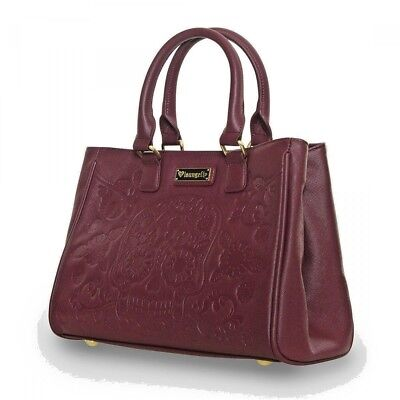 $ New LOUNGEFLY Handbag Bag Purse BURGUNDY RED WINE Saffiano Faux Vegan Leather