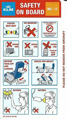 Safety Card - KLM - MD-11 - 1998 (S3684)