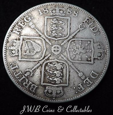 1888 Queen Victoria Jubilee Head Silver Double Florin Coin - Ref;H/D