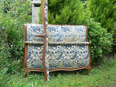 Super French Upholstered Vintage Double Bed,blue Cream Florial