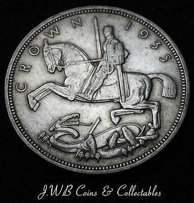 1935 George V Silver Rocking Horse Crown Coin - Ref;H/D..