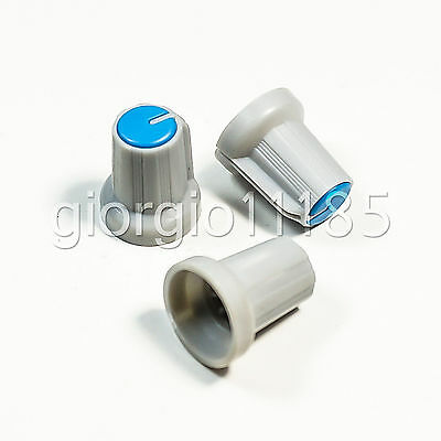 20pcs Plastic Hi-Fi CD Volume Tone Control Potentiometer Knob 6mm Blue Gray