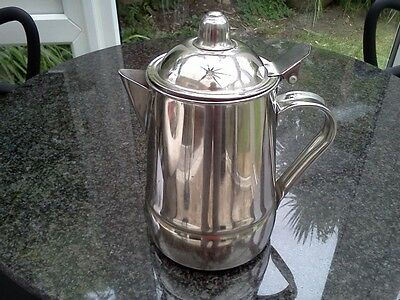 Traditional tall stainless steel tea pot with hinged lid