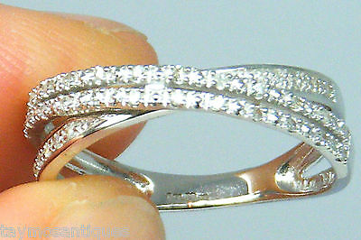 9k Gold 9ct solid white gold   Diamond eternity ring size P Hallmarked