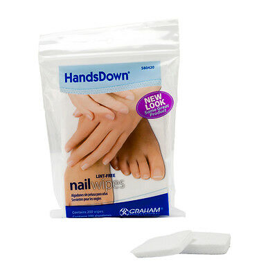 Graham Professional HandsDown Beauty Product 200 Nail Wipes Lint Free Hands Down