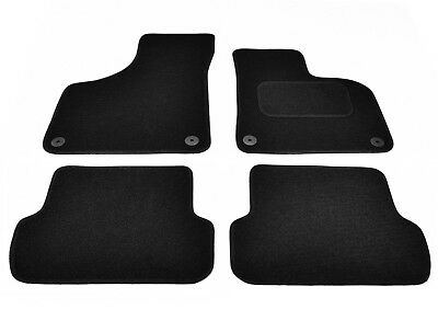 Audi A3 2003 to 2012 Tailored Carpet Car Floor Mats in Black 4pc Set 4 Clips