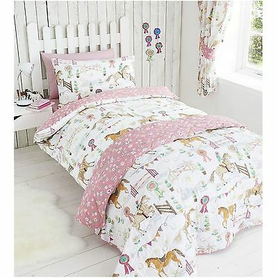 Horse Show Double Duvet Set Pink Reversible White Bedding Brand New Kids Club
