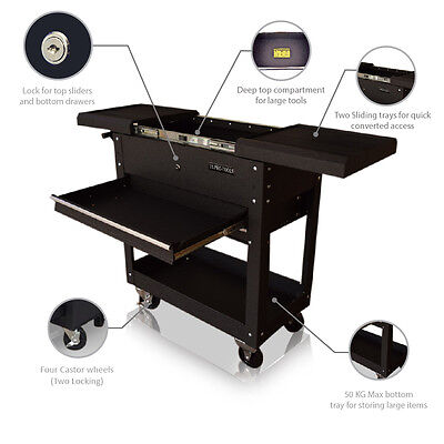56 Us Pro Tools Tool Cart Trolley Workstaion Box Black