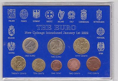 Cased 1999 To 2001 Belgium 8 Coin Euro Set In Near Mint Condition
