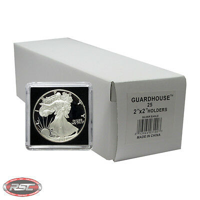 25 - GUARDHOUSE 2x2 TETRA PLASTIC SNAPLOCK COIN HOLDER for 1-OZ ASE SILVER EAGLE