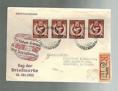 1952 Dresden East Germany DDR to USA First Day Cover Dove PEace  FDC 4 # 112