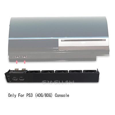 Deluxe Black 2 USB Quite 5 Cooling Cooler Fan For SONY PLAYSTATION 3 PS3 Console