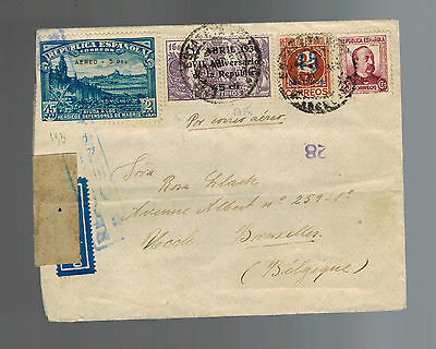 1938 Spain Airmail Censored Cover to Belgium # CB 6  586