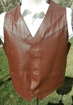 Retro 1980s SEARS Argentine Leather Vest 44 Regular - Western Cut