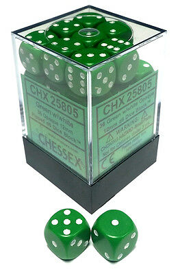 Chessex Dice: Opaque 12mm D6 Green/White (36) CHX 25805