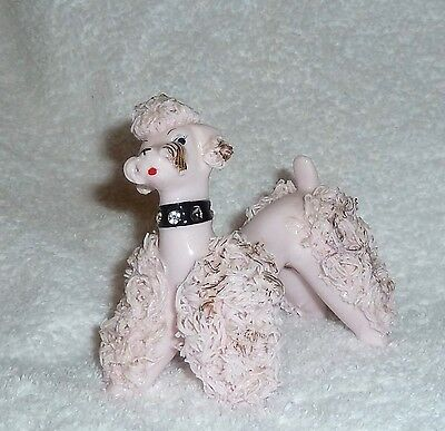 Vintage Lefton Pink Spaghetti Poodle Dog Figurine 1950s Pinup Rockabilly Dog