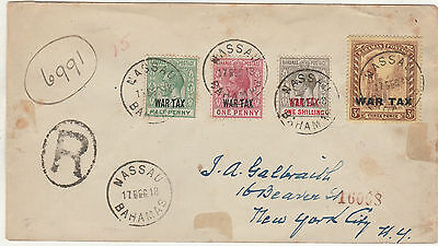Bahamas 1918 War Tax Set Om Registered Cover To Usa
