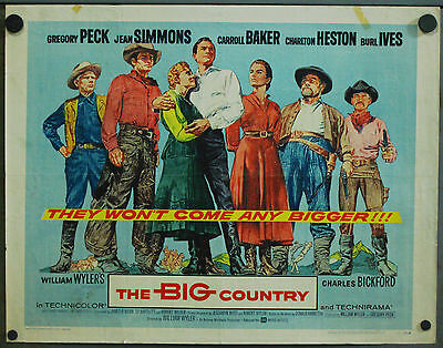 VY46D THE BIG COUNTRY GREGORY PECK CHARLTON HESTON orig US Half Sheet POSTER