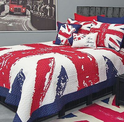 Union Jack 1Pc Euro European Pillow Sham Blue Red Quilted By Bed Lam