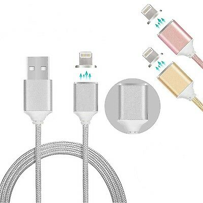 Iphone 6S 7 Magnetic Lightning Charger Nylon Braided Data Sync Cable Adapter