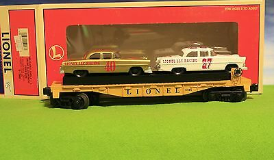 Lionel Trains - 6424 Lionel Circle - L Racing Flatcar With Stock Cars  - Mint *n