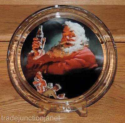 "Nm 1993 Usa Heavy Round Coca-Cola 13"" Santa Platter/plate - Indiana Glass"