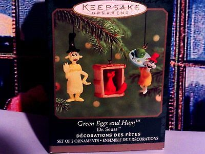 Dr Seuss`2000`Miniature,Green Eggs And Ham,Set Of 3 Hallmark Christmas Ornaments