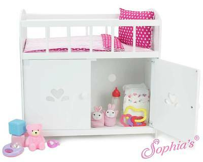 "Baby Doll Crib and Storage Cabinet Furniture for 12"" - 15"" American Girl Dolls"