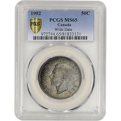1952 Canada Silver 50 Cents 50C - Wide Date - PCGS MS65 - PCGS 'Secure'