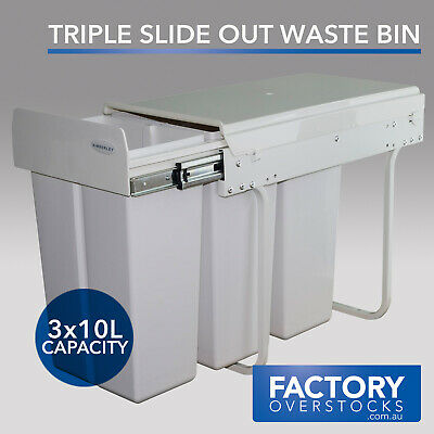 30L Triple Slide Out Slimline Waste Bin - Pull Out Kitchen Three Compartment Gar