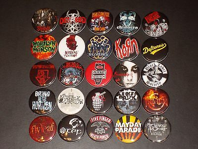 Assorted Rock/ Metal Band Buttons /  Pins 25