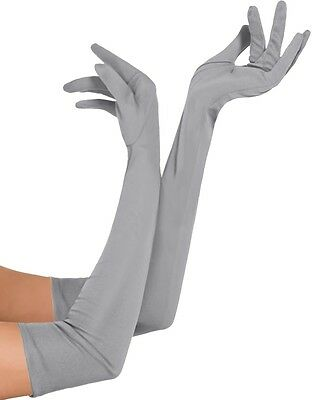"Womens 21"" Silver Opera Gloves 1920's Burlesque Party Outfit Costume Accessory"